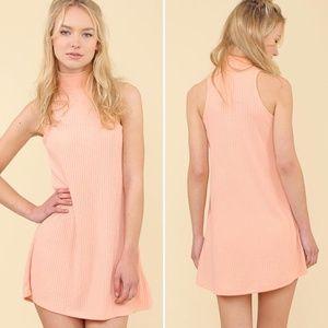 NEW Mock Neck Ribbed Dress | Peach